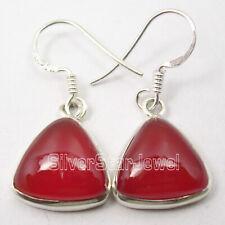 "Red 12 x 12 mm Carnelian Dangle Earrings 1.2"" Solid Sterling Silver Ladies Stone"