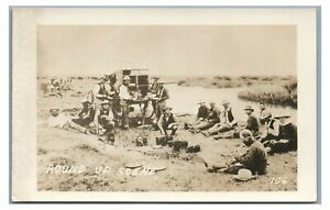 RPPC Round Up Scene Cowboys WY Wyoming Chuck Wagon REPRO Real Photo Postcard