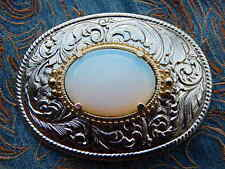 NEW HANDCRAFTED IRIDESCENT WHITE OPALITE SILVER METAL BELT BUCKLE  WESTERN  GOTH