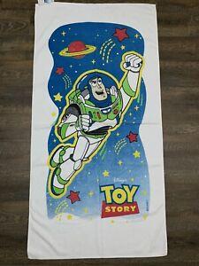 """TOY STORY - Vtg 90s Buzz Lightyear White Disney Beach Towel, 54"""" x 27"""""""