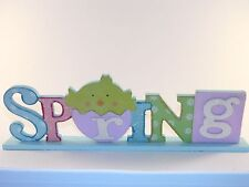 Wood Pastel Spring Table Desk Sign With a Chick In An Egg Decoration