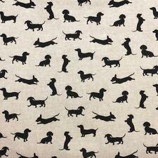 SAUSAGE DOGS BLACK NATURAL LINEN LOOK(POP ART PRINT) COTTON MIX  FABRIC
