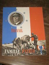 protège cahier  Pétain  légion française des combattants WW2 vichy TRAVAIL