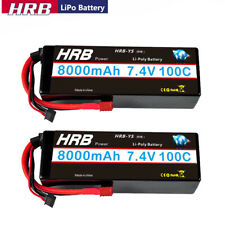 2pcs HRB 7.4V 8000mAh 2S LiPo Battery Hardcase 100C Deans For RC Car Boat Truck
