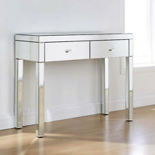 Anjohn Mirrored Glass 2 Drawer Dressing Table - Stool (W/B)&Glass Desk Set