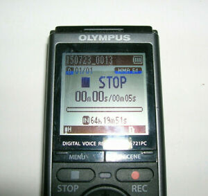 """Olympus VN-721PC Digital Audio Voice Recorder - Black/Silver -Tested 4.25"""" Long"""