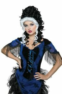 Victorian Black and White Wig, Historical Vampire Goth Curly Updo, Colonial