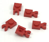 Lego Lot of 5 New Red Plates Modified 1 x 1 with Clip Vertical Parts Pieces