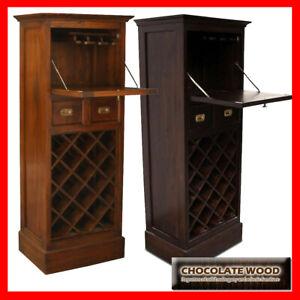 NEW OLGAS SOLID Mahogany  Wine Rack 1Door & 2 Drawers