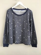 Anthropologie Pure + Good Blue Floral Print Sweat Top Large