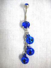 BOLLYWOOD DANCER BLUE DANGLING JINGLE BELLS CHAIN COBALT CZ BELLY BAR NAVEL RING