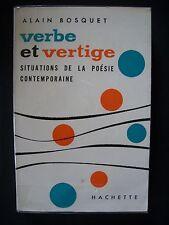 """Alain Bosquet  """"Verbe et Vertige"""" (Situations de la Poésie) / éd.Hachette - 1963"""