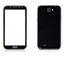 2 X Black Carbon Fibre Skin Sticker Full Body Wrap For Samsung Galaxy Note 2 II