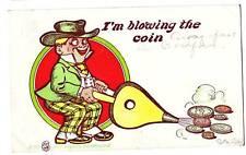 1906 BLACKSMITH Bellows Comic Coin Postcard
