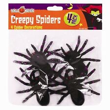 Halloween Large Creepy Spiders Decoration - 4 Pack