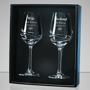 personalised wedding gift engraved crystal wine glasses 133519 for bride groom