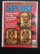 Gary Carter Reggie Jackson Pete Rose Signed Sport Mag No Label Mint July 86 JSA