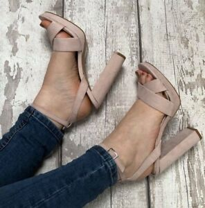 Nude Heel Size 5 Faux Suede Cross Over Strappy Platform Prom Wedding Party