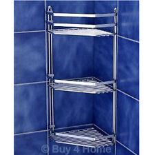 Chrome Satina Triple Corner Caddy - Bathroom Basket Storage Tidy Quality Shelf