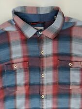 Shadow Plaid Shirt Flannel Mens L Blue Red Long Sleeve Button Front Cotton
