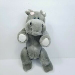 """TY Grace Jointed Hippo 12"""" Plush Attic Treasures Stuffed Animal Grey Poseable"""