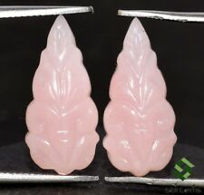 5.15 Cts Natural Pink Opal Handmade Carving Pair 17x8 mm Beautiful Leaf Gemstone