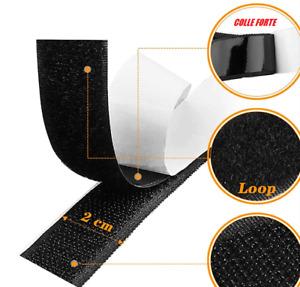 velcro autocollant/adhésif noir 200 cm de long par 20 mm de large.