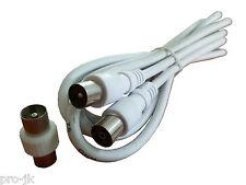 Câble / Cordon coaxial antenne TV Mâle/Femelle 3m + olive mâle/mâle