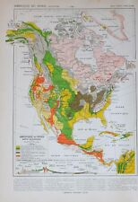 1913 MAP NORTH AMERICA GEOLOGICAL MOUNTAIN SECTIONAL CARBON TERRAIN VOLCANIC