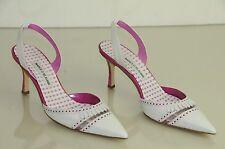 New Manolo Blahnik PETARDA White Pink Dots Carolyne Heels Shoes 41.5 42