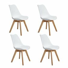 Set of 4 Tulip Dining/office Chair With Solid Wood Oak Legs Eggree Padded Seat