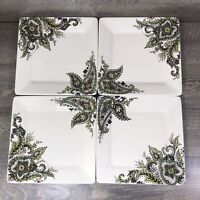 Tabletops Gallery ANGELA Square Dinner Plates Cream Floral Paisley Set of 4