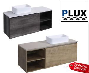 PLUX Luxury Bathroom Vanity Wall hung SoftClose unit 1200x450x450 Stone top