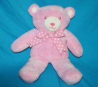 "Baby Girl Pink Plush TEDDY BEAR RATTLE 13"" Polka Dot Bow Soft Toy Sewn Eye Lovey"