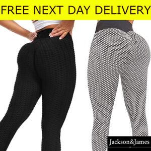UK Women Anti-Cellulite Yoga Pants Push Up TikTok Leggings Honeycomb Fitness Gym