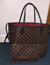 Authentic Louis Vuitton Neverfull MM Damier Ebene Tote With Pouch Handbag