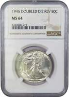 1946 Double Die Reverse Liberty Walking Half Dollar MS 64 NGC 90% Silver 50c