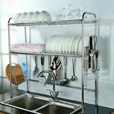 2-Tier Stainless Steel Dish Rack Nonslip Height Adjustable with Chopstick Holder