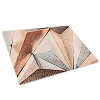 Brown Rose Gold Geometric Glass Chopping Board Kitchen Worktop Saver Protector