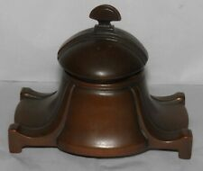 Antique Art Deco Era BRONZE INKWELL Footed & Stylized w/ Orig Glass Insert