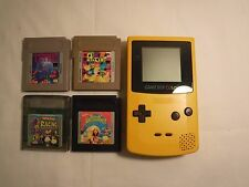 Dandelion Yellow Nintendo Game Boy Color and 4 games bundle TESTED WORKS TETRIS