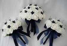BRIDES WITH 2 BRIDESMAIDS POSY BOUQUETS IN IVORY & NAVY BLUE, ARTIFICIAL FLOWERS