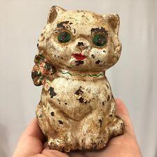 Hubley Cast Iron Still Penny Bank Kitty Cat Floral Bow Collar Original Paint