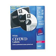 Avery Laser CD Labels Matte White 100/Pack 5698