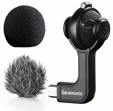 Saramonic G-Mic Stereo Ball Microphone with Foam & Furry Windscreens for Go