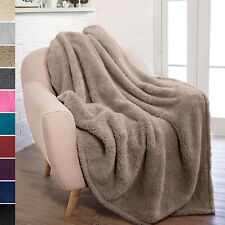 Soft Fuzzy Warm Cozy Throw Blanket with Fluffy Sherpa Fleece for Sofa Couch Bed