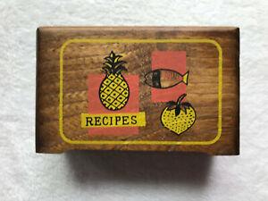 Vintage  Japan Wood Recipe box collectible kitchen decor