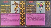 X-MEN ALERT Game PRESSMAN Replacement Parts  Power Stat Cards WOLVERINE JUBILEE