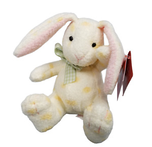 "Russ Berrie Luv Pets Jellybean 27723 Plush Rabbit Bunny 5"" Yellow Spots Pink Ear"