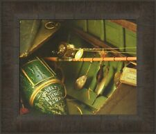 ANTIQUE FISHING LURES & VINTAGE ROD Guide Boat Fish FRAMED ART 12x14 Zoellick 9